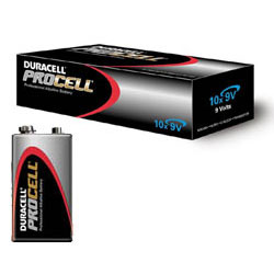 Duracell Procell/Industrial 9V Batteries (Box of 10) - DUR-PROCELL-9V-10