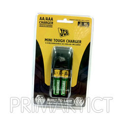 JCB Mini Tough Charger - Includes 4x AA Batteries - JCB-MINITOUGH-CHARGER