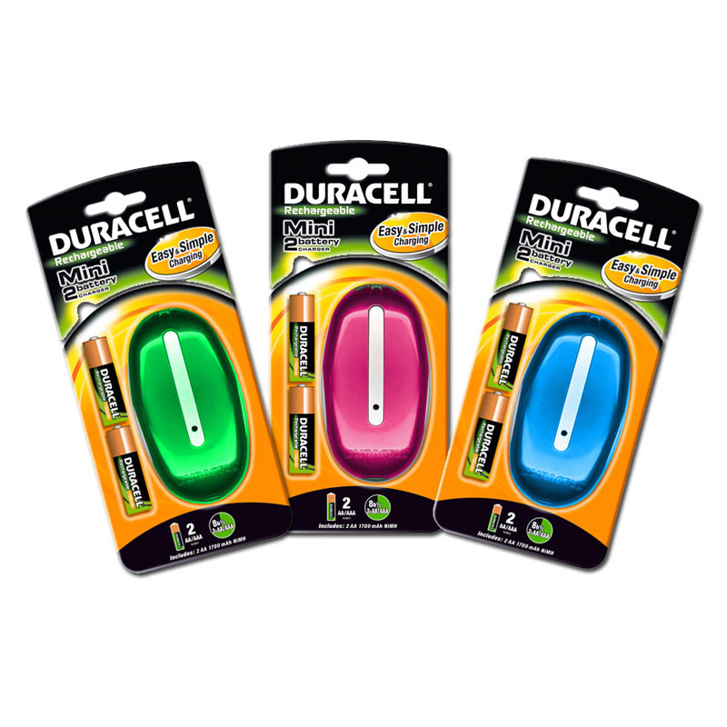 Duracell Mini Colour Battery Charger - Includes 2x AA Batteries - DUR-MINI-CHARGER