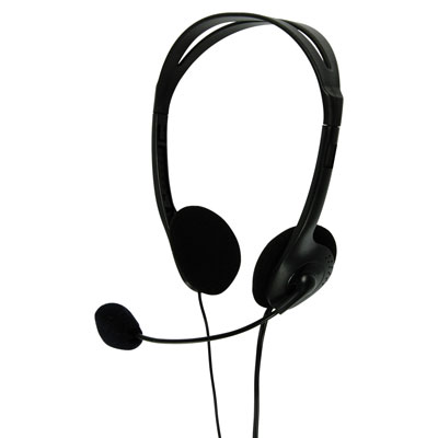 Multimedia Headphones with Flexible Microphone - in Black (Pack of 16) - CHST100BK/16