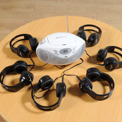 TTS Easi-Listener CD Player 2 Bundle - with 6 Sets of Easi-Headphones