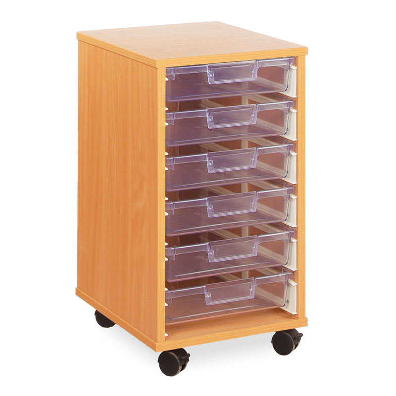 6 Shallow Tray Storage Unit - with Clear Shallow Trays - CE0086MCL