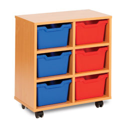 6 Cubby Tray Storage Unit