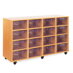 16 Deep Tray Storage Unit - with Clear Deep Trays