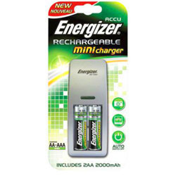 Energizer Mini Battery Charger - Includes 2x AA Batteries - ENE-MINICHARGER