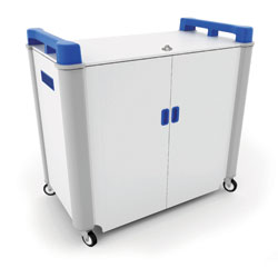 LapCabby 32 Bay Laptop Charging Trolley with Coloured Handles & Sliding Drawers (Horizontal Storage)