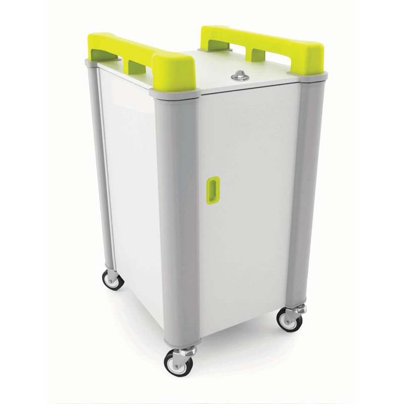 LapCabby 10 Bay Laptop Charging Trolley (Vertical) - with Lime Green Handles - LAP10V-LI