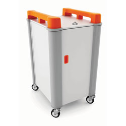LapCabby 10 Bay Laptop Charging Trolley (Vertical) - with Orange Handles