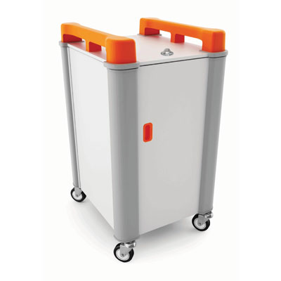 LapCabby 10 Bay Laptop Charging Trolley (Vertical) - with Orange Handles - LAP10V-OR