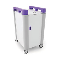 LapCabby 10 Bay Laptop Charging Trolley (Vertical) - with Purple Handles