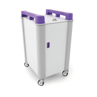 LapCabby 10 Bay Laptop Charging Trolley (Vertical) - with Purple Handles - LAP10V-PU