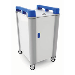 LapCabby 10 Bay Laptop Charging Trolley (Vertical) - with Blue Handles