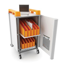 LapCabbymini 20 Bay Netbook Charging Trolley (Vertical) - with Orange Handles