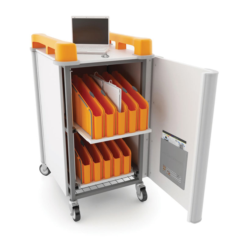 LapCabbymini 20 Bay Netbook Charging Trolley (Vertical) - with Orange Handles - LAPM20V-OR