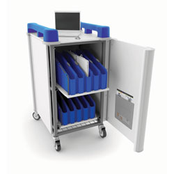 LapCabbymini 20 Bay Netbook Charging Trolley (Vertical) - with Blue Handles