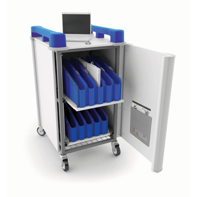 LapCabbymini 20 Bay Netbook Charging Trolley (Vertical) - with Blue Handles - LAPM20V-BL