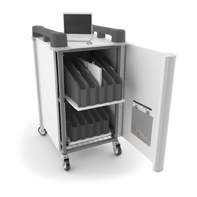 LapCabbymini 20 Bay Netbook Charging Trolley (Vertical) - with Charcoal Grey Handles - LAPM20V-CH