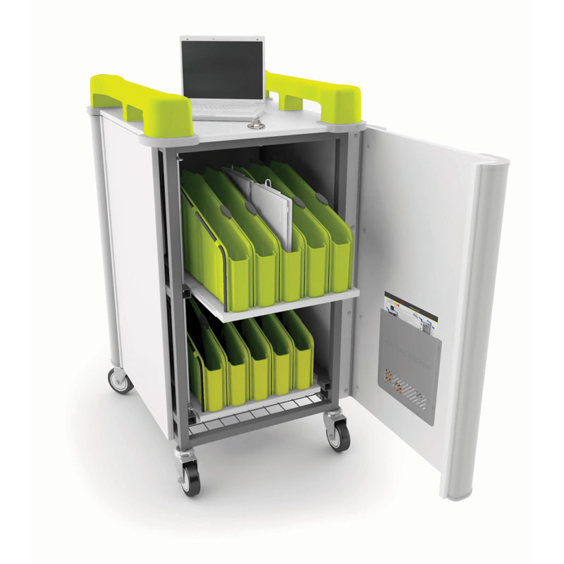LapCabbymini 20 Bay Netbook Charging Trolley (Vertical) - with Lime Green Handles - LAPM20V-LI
