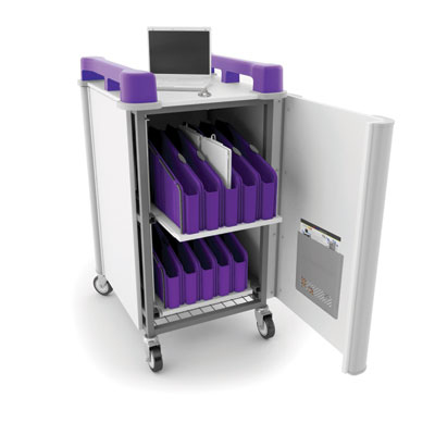 LapCabbymini 20 Bay Netbook Charging Trolley (Vertical) - with Purple Handles - LAPM20V-PU