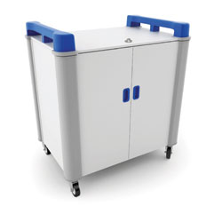 LapCabby 16 Bay Laptop Charging Trolley (Vertical) - with Blue Handles