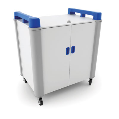 LapCabby 16 Bay Laptop Charging Trolley (Vertical) - with Blue Handles - LAP16V-BL