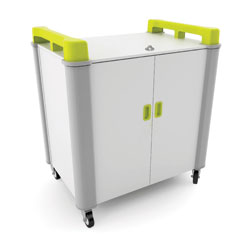 LapCabby 16 Bay Laptop Charging Trolley (Vertical) - with Lime Green Handles