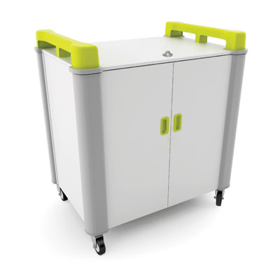 LapCabby 16 Bay Laptop Charging Trolley (Vertical) - with Lime Green Handles - LAP16V-LI