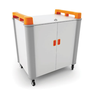 LapCabby 16 Bay Laptop Charging Trolley (Vertical) - with Orange Handles - LAP16V-OR