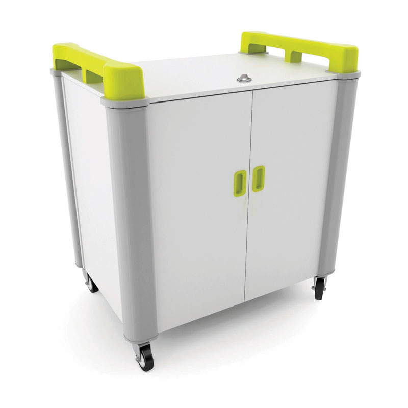 LapCabby 20 Bay Laptop Charging Trolley - with Lime Green Handles - LAP20V-LI