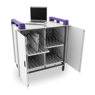 LapCabby 20 Bay Laptop Charging Trolley - with Purple Handles - LAP20V-PU