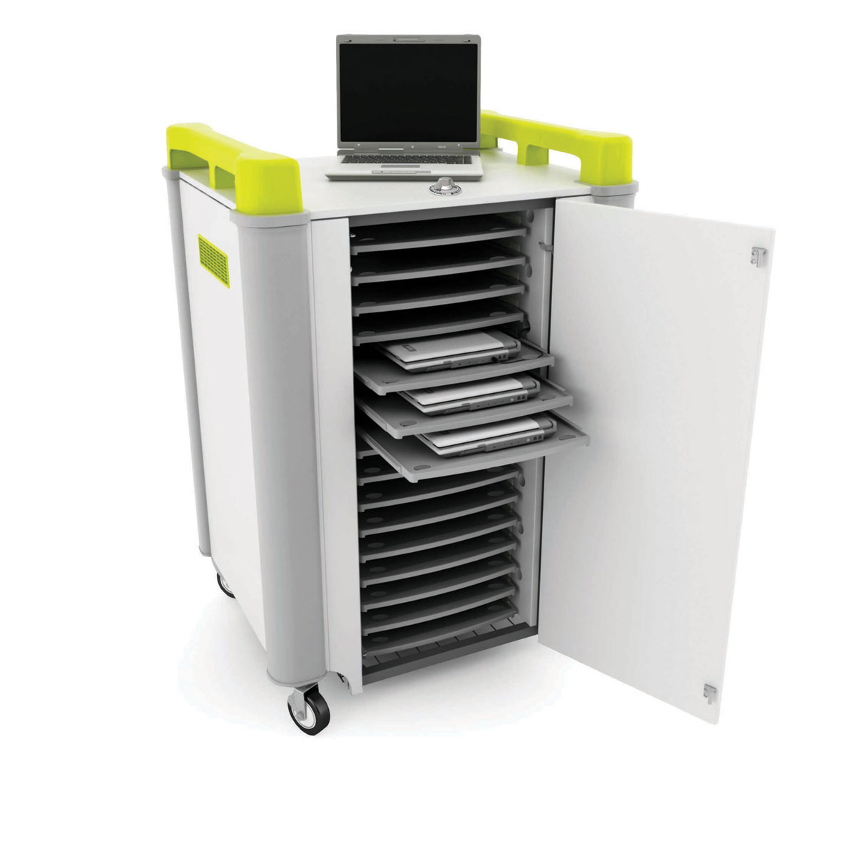 Lapcabby 16 bay laptop charging trolley with lime green for Storage bay