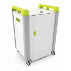 LapCabby 16 Bay Laptop Charging Trolley - with Lime Green Handles & Sliding Drawers (Horizontal Storage)