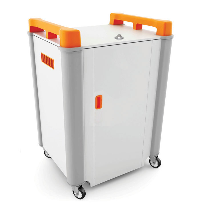 LapCabby 16 Bay Laptop Charging Trolley - with Orange Handles & Sliding Drawers (Horizontal Storage) - LAP16H-OR
