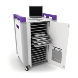 LapCabby 16 Bay Laptop Charging Trolley - with Purple Handles & Sliding Drawers (Horizontal Storage)