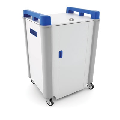 LapCabby 16 Bay Laptop Charging Trolley - with Blue Handles & Sliding Drawers (Horizontal Storage) - LAP16H-BL