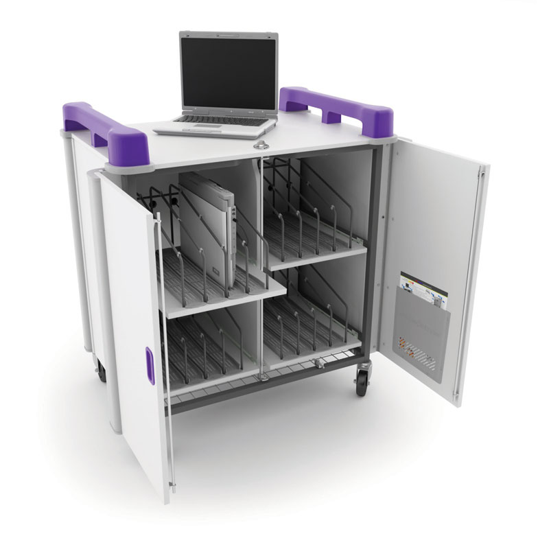 LapCabby 16 Bay Laptop Charging Trolley (Vertical) - with Purple Handles - LAP16V-PU
