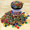Colourful Transparent Chips with Metal Rims - Set of 500 - CD50293