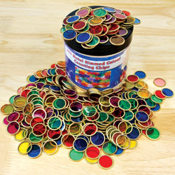 Colourful Transparent Chips with Metal Rims - Set of 500
