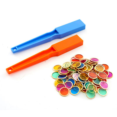 Magnetic Wand and Metal Rim Disc Set - includes 2 Wands and 100 Coloured Discs - CD50012