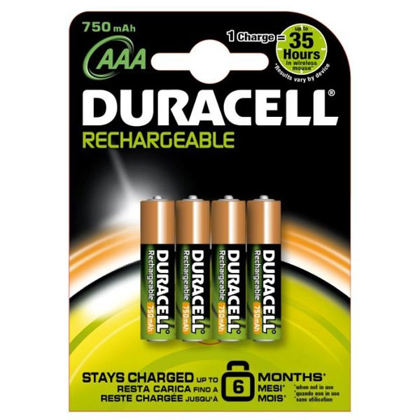 Duracell Rechargeable AAA Batteries 750mAh (Pack of 4) - DUR-750-AAA-4