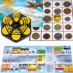 TTS Rechargeable Bee-Bot Group Starter Bundle - 6x Bee-Bots & Docking Station & 4x Mats