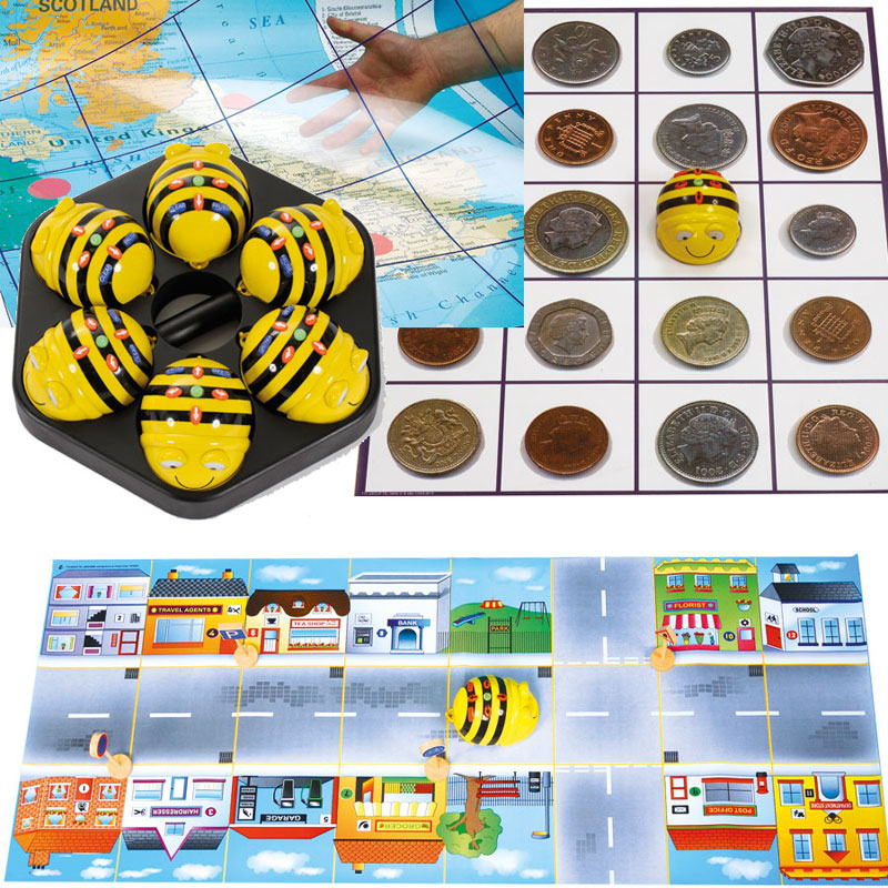 TTS Rechargeable Bee-Bot Group Starter Bundle - 6x Bee-Bots & Docking Station & 4x Mats - EL00400