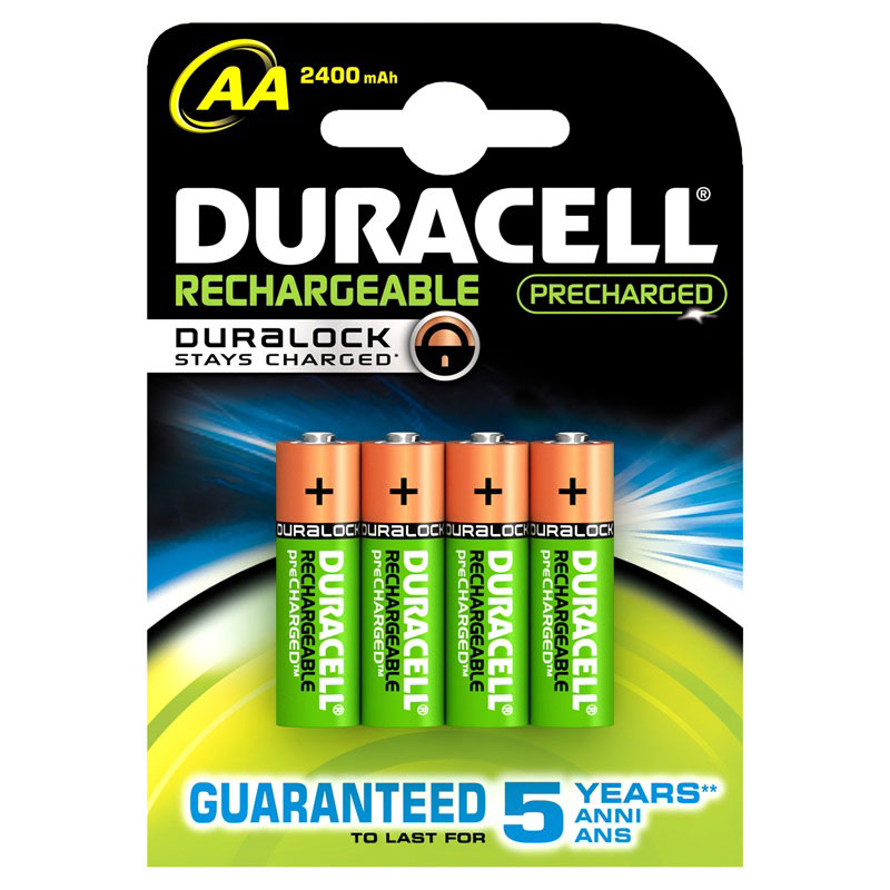 Duracell DuraLock Rechargeable AA Batteries 2400mAh (Pack of 4) - DUR-2400-AA-4