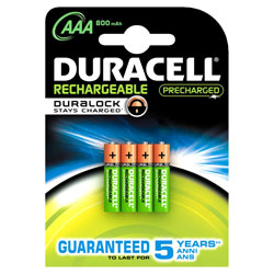 Duracell DuraLock Rechargeable AAA Batteries 800mAh (Pack of 4)