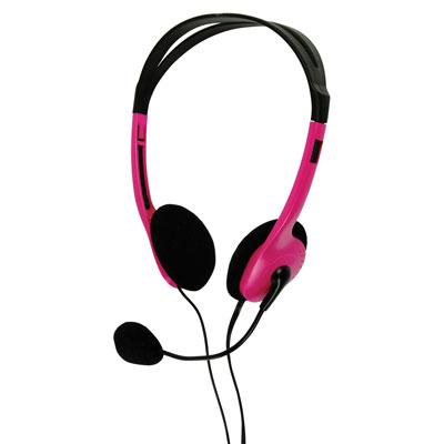 Multimedia Headphones with Flexible Microphone - in Pink - BXL-HEADSET1PI