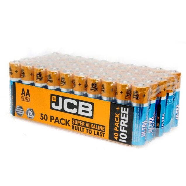 JCB Super Alkaline Ultra AA Batteries (Box of 50) - JCB-ULTRA-AA-50