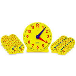 *Box Damaged* Big Time Classroom Geared Clock Bundle - includes 1x Teacher & 24x Student Clocks - by Learning Resources