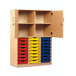 24 Shallow Tray Cupboard - Half Locking Doors