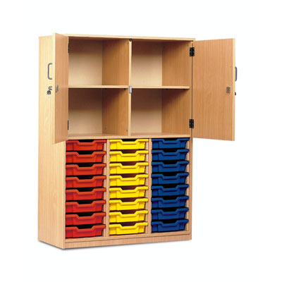 24 Shallow Tray Cupboard - Half Locking Doors - MEQ24