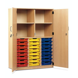 24 Shallow Tray Cupboard - Full Locking Doors